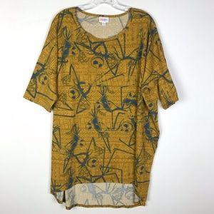 Lularoe Irma Shirt Jack Skellington Mustard Yellow